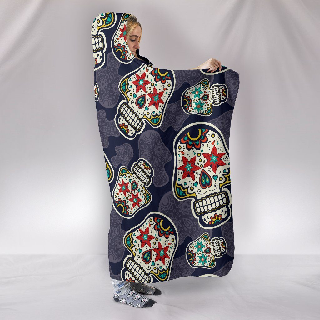 Sugar Skull Themed Hooded Blanket