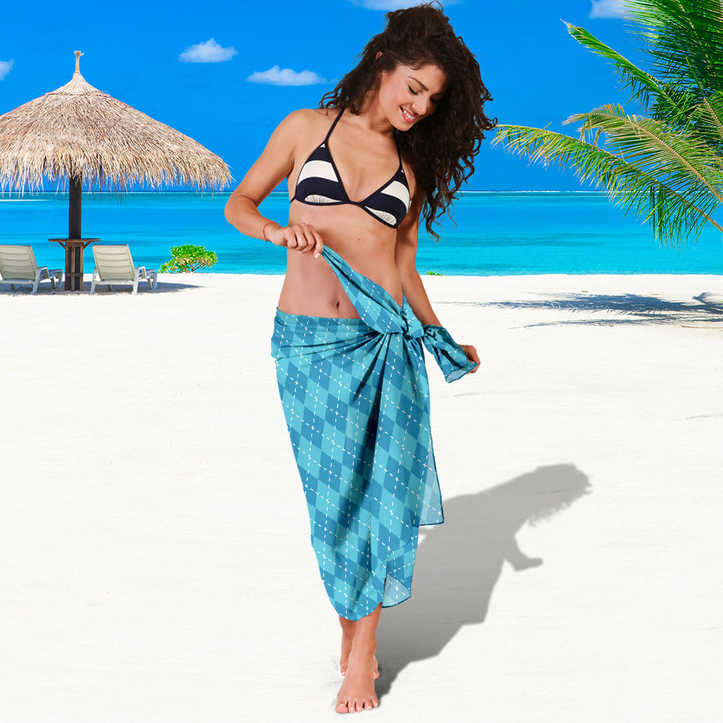 BLUE ARGYLE SARONG BEACH COVER UP SWIMSUITS POOL ONE PIECE  SHAWL SCARF WRAP UP