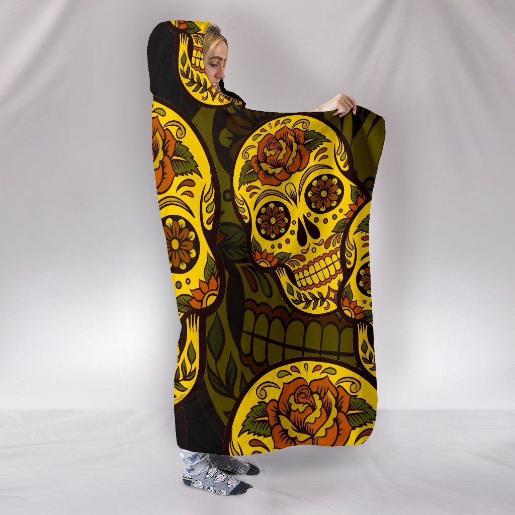 Sugar Skull Gold Themed Hooded Blanket