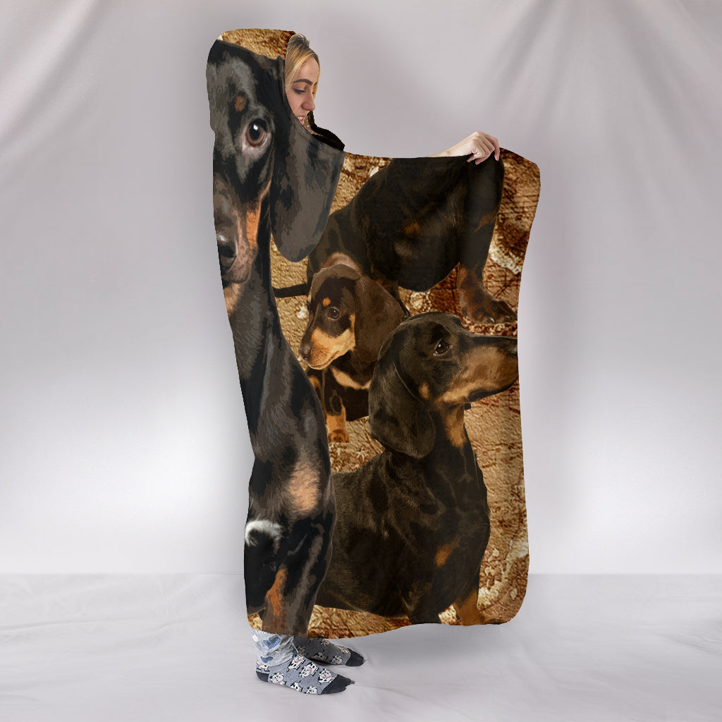Dachshund Face Themed Hooded Blanket