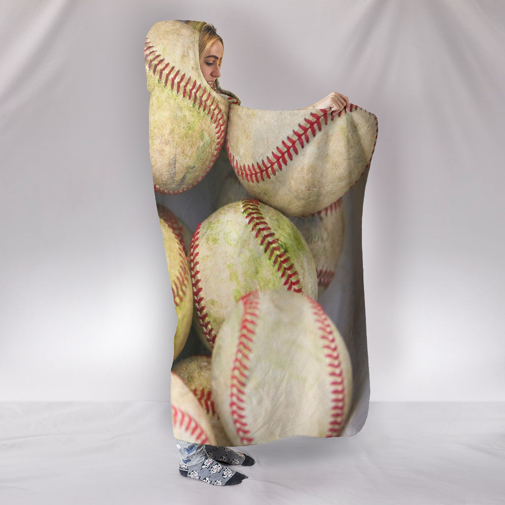 Bucket of Baseballs Themed Hooded Blanket