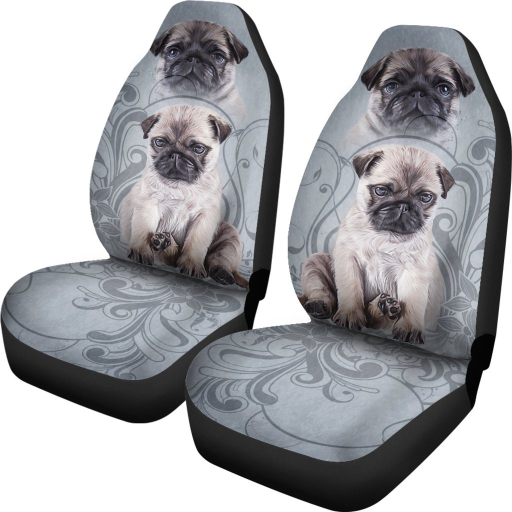 Pug Dog Love Themed Car Seat Covers (SET OF 2)