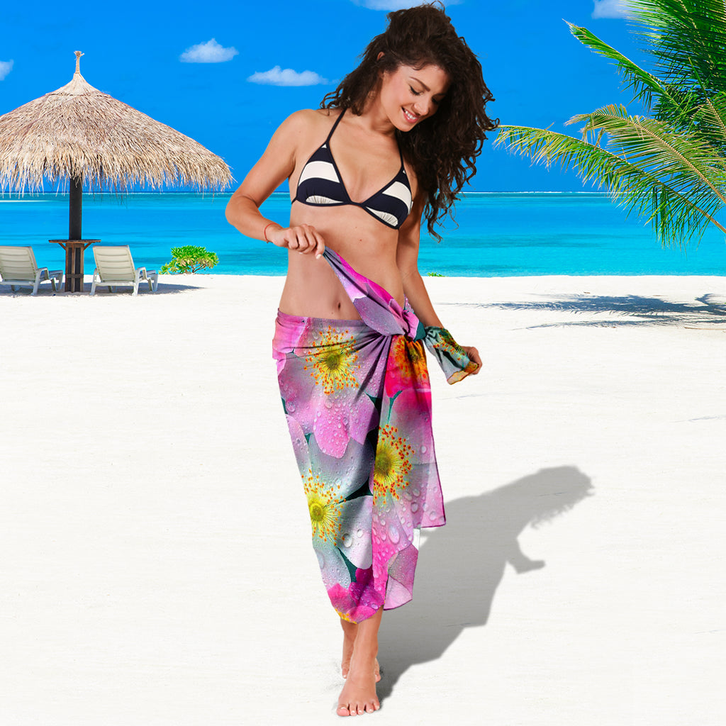 PINK FLOWERS SARONG BEACH COVER UP SWIMSUITS POOL ONE PIECE  SHAWL SCARF WRAP UP