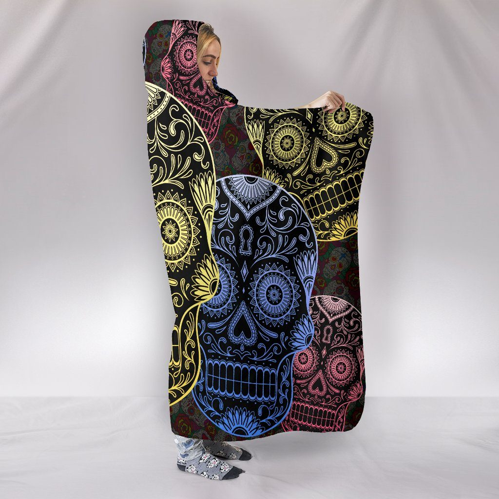 Sugar Skull Trio Themed Hooded Blanket