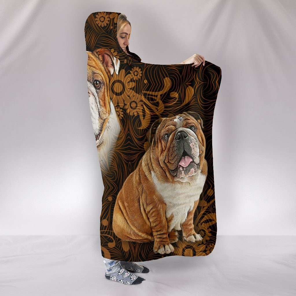 Bulldog Love Themed Hooded Blanket