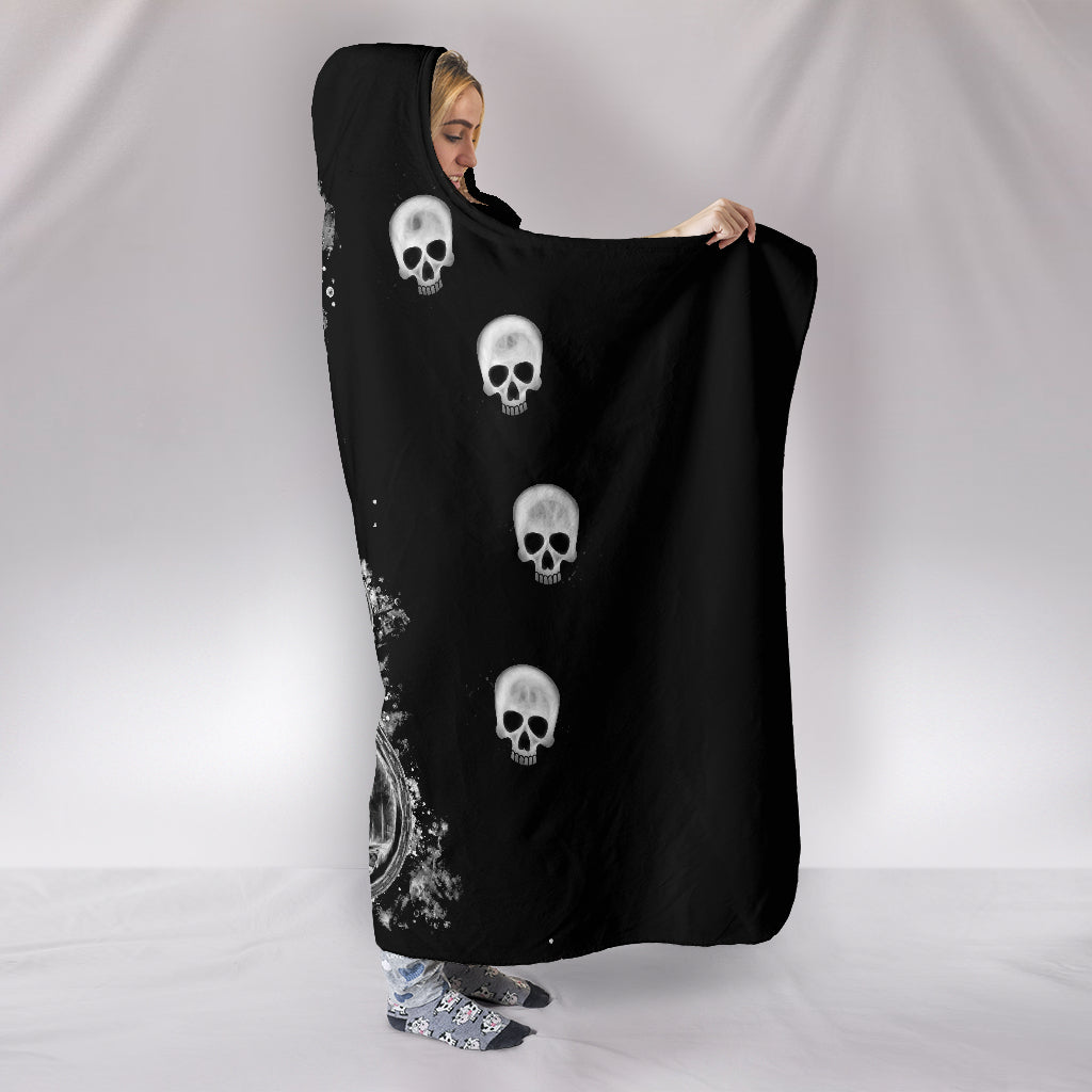 Guitar & Skulls Themed Hooded Blanket