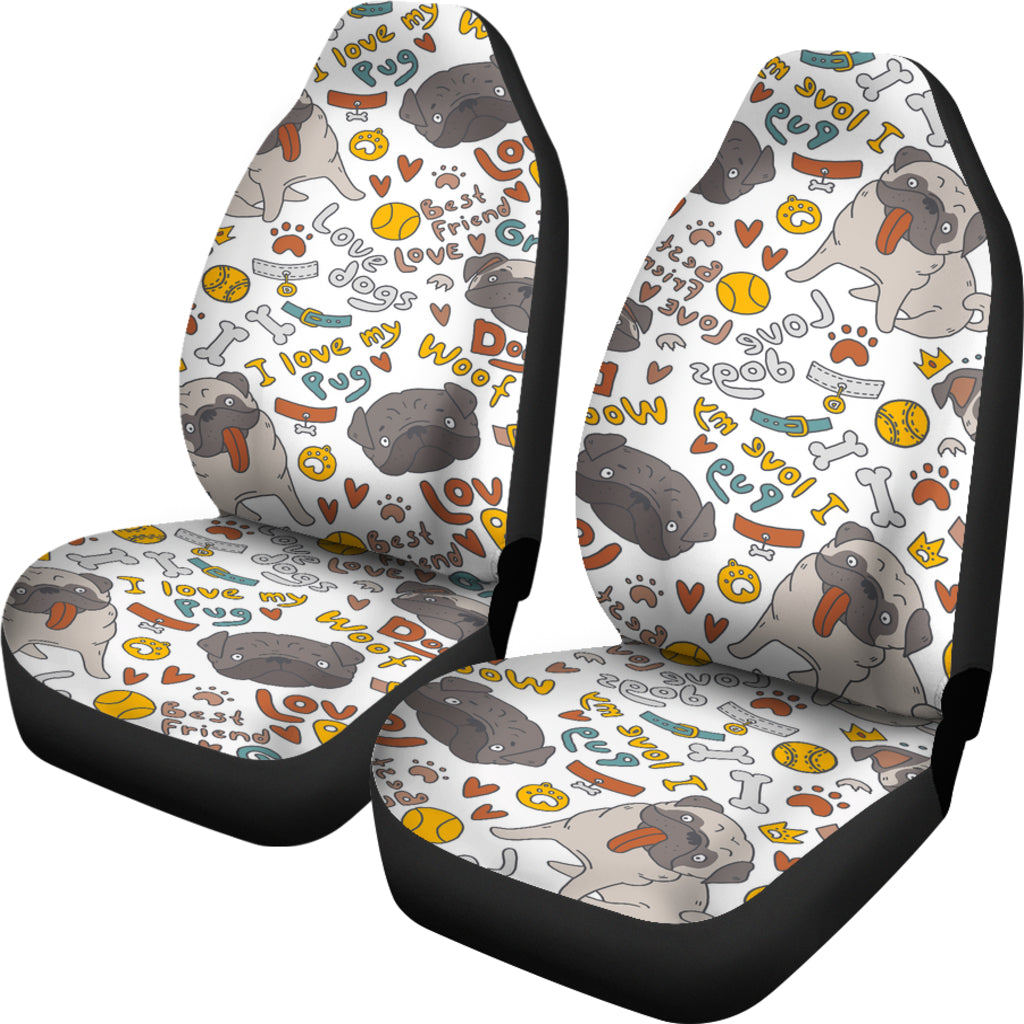 I Love My Pug 2 Dog Themed Car Seat Covers (SET OF 2)