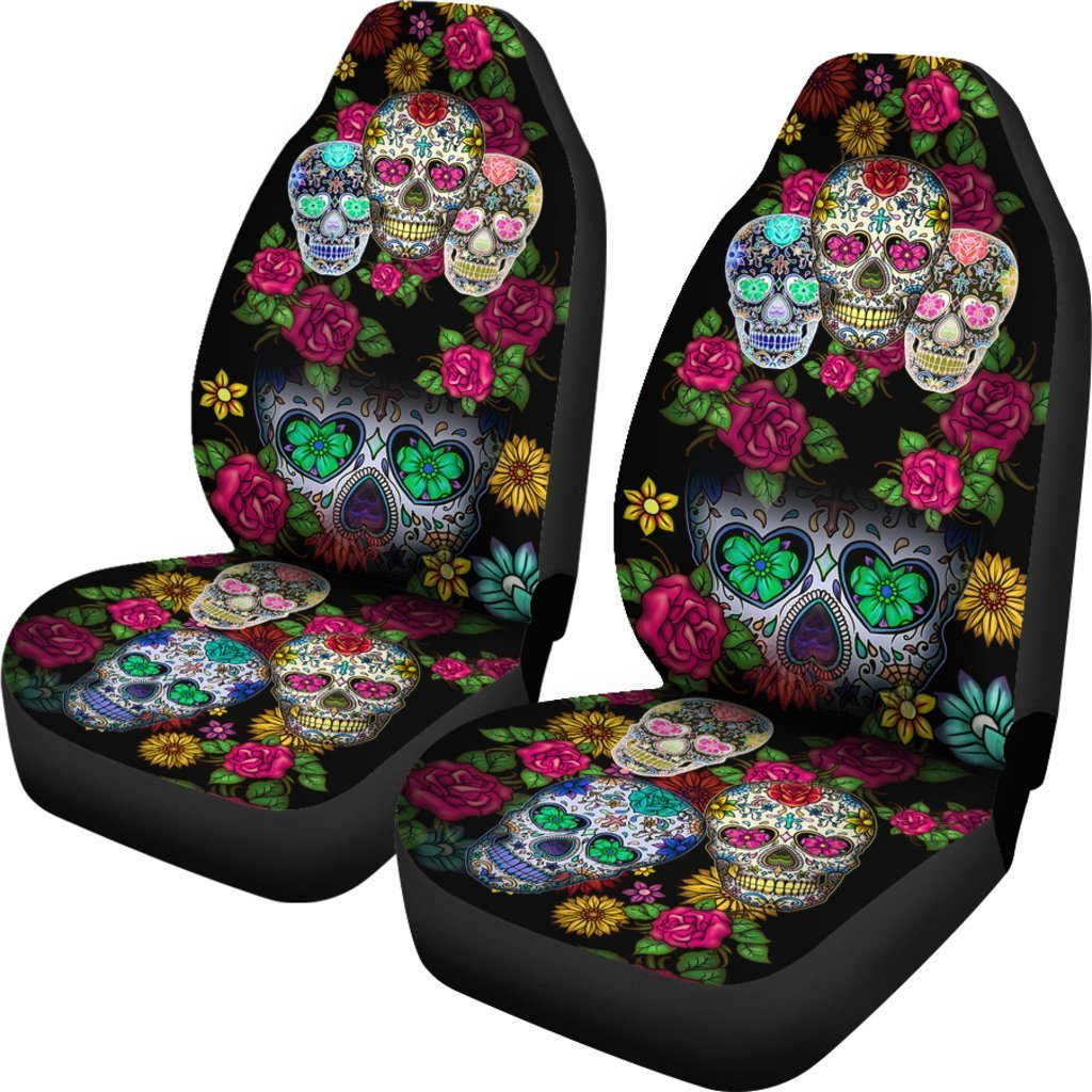 Sugar Skull Black Car Seat Covers (SET OF 2)