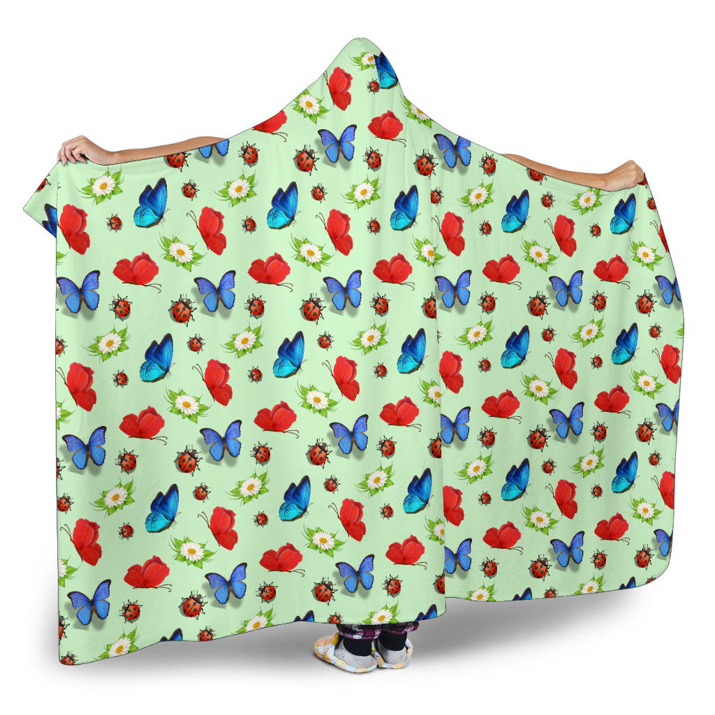 Butterfly Garden Themed Hooded Blanket