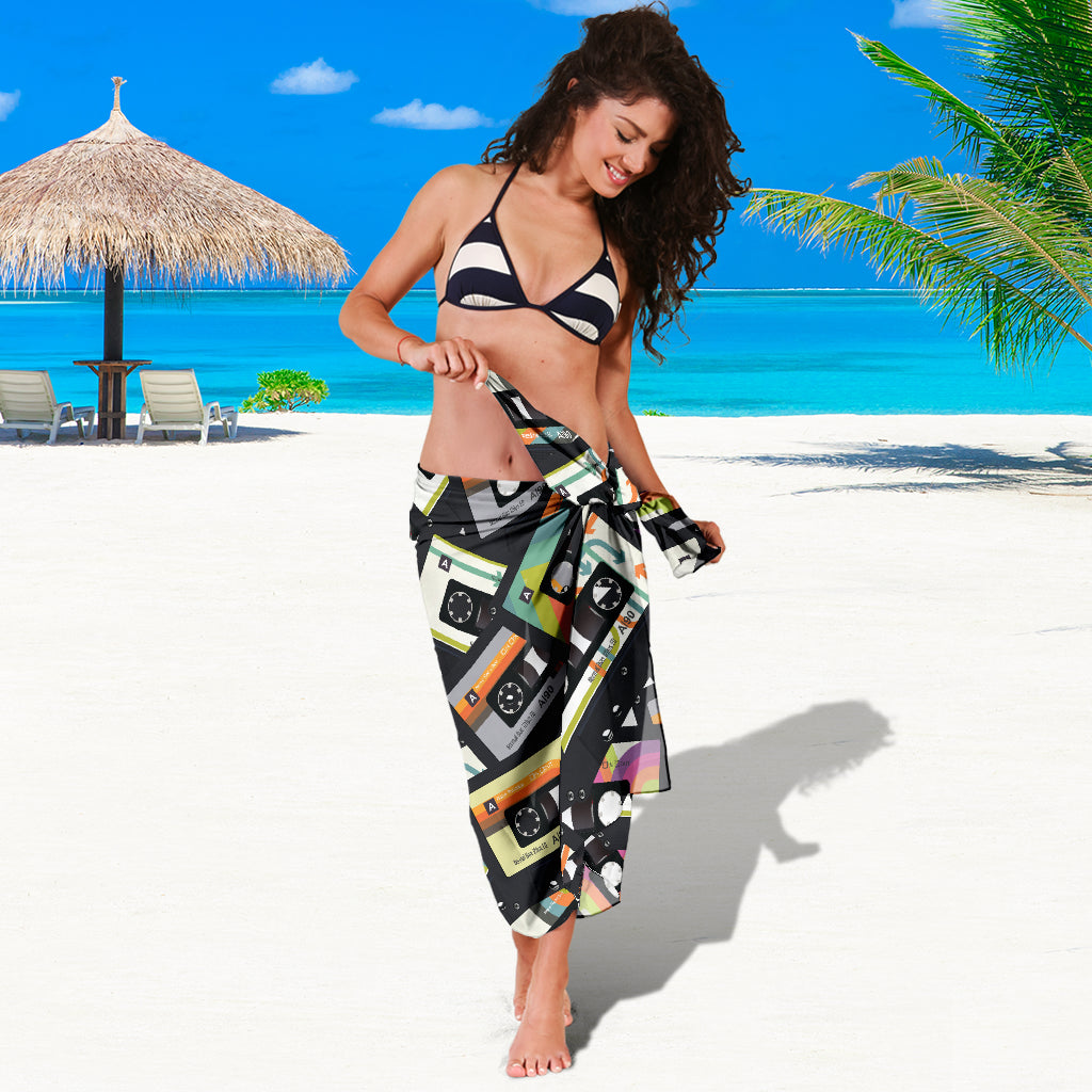RETRO VINTAGE CASSETTE TAPE SARONG BEACH COVER UP SWIMSUITS POOL ONE PIECE  SHAWL SCARF WRAP UP