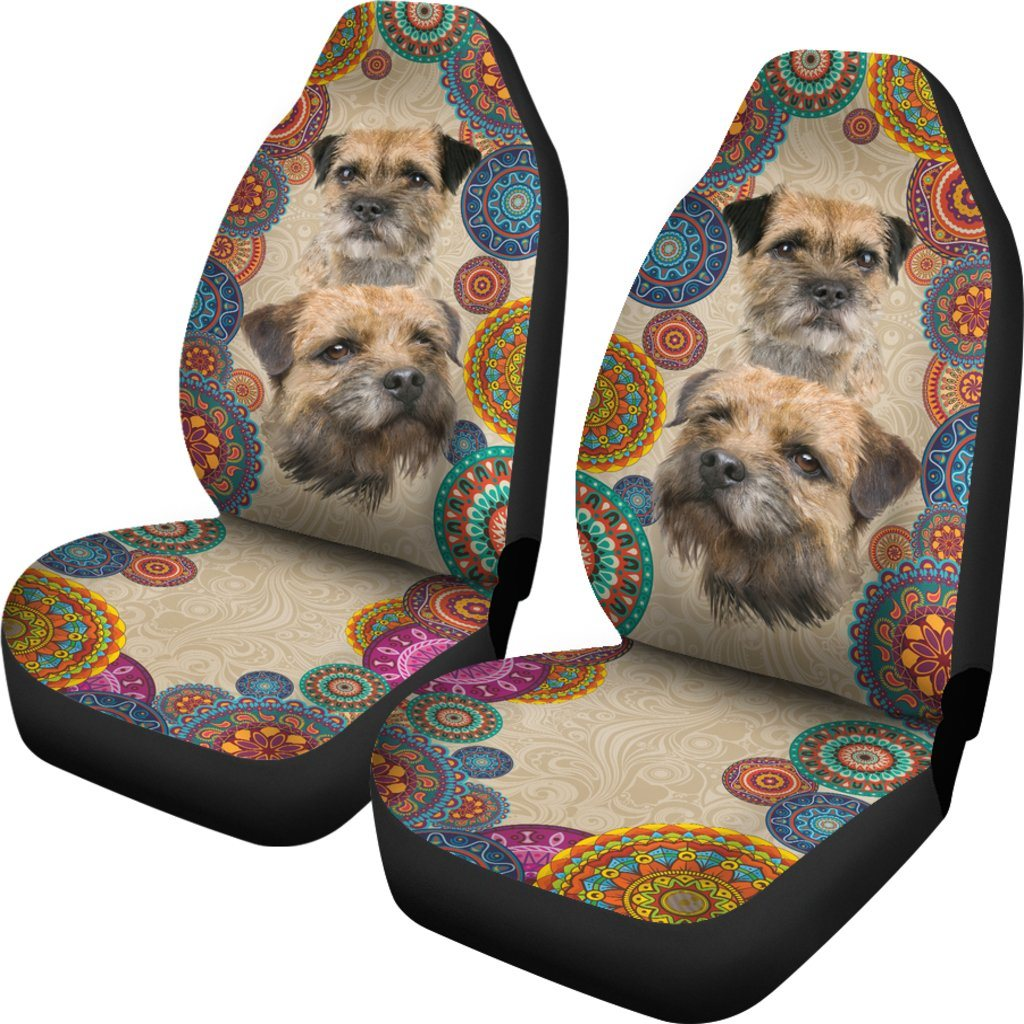 Border Terrier Dog Love Themed Car Seat Covers (SET OF 2)