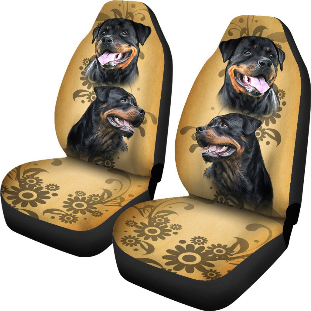 I Love Rottweiler Dog Themed Car Seat Covers (SET OF 2)