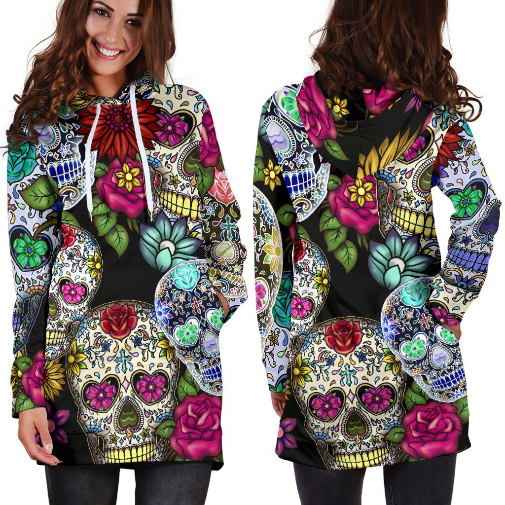 Sugar Skull Hoodie Dress (Handmade Premium Quality)