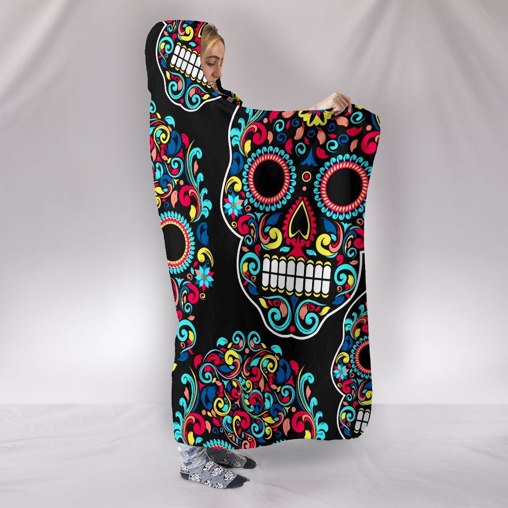 SUGAR SKULL SWIRLS HOODED BLANKET