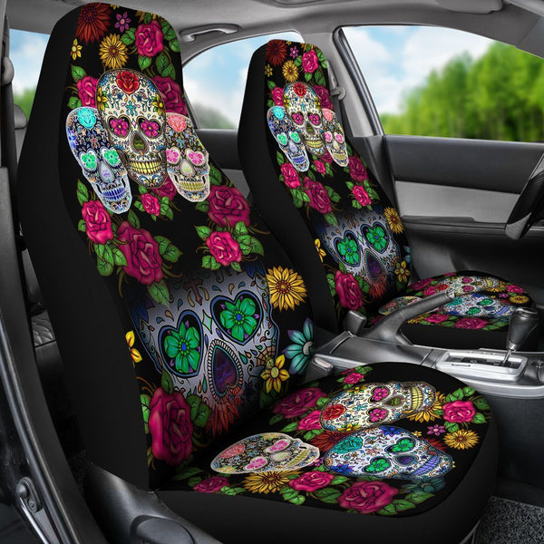 Buy Sugar Skull Black Car Seat Covers Set Of 2 Seat