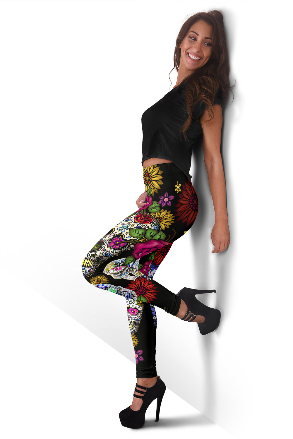 Sugar Skull Black Leggings