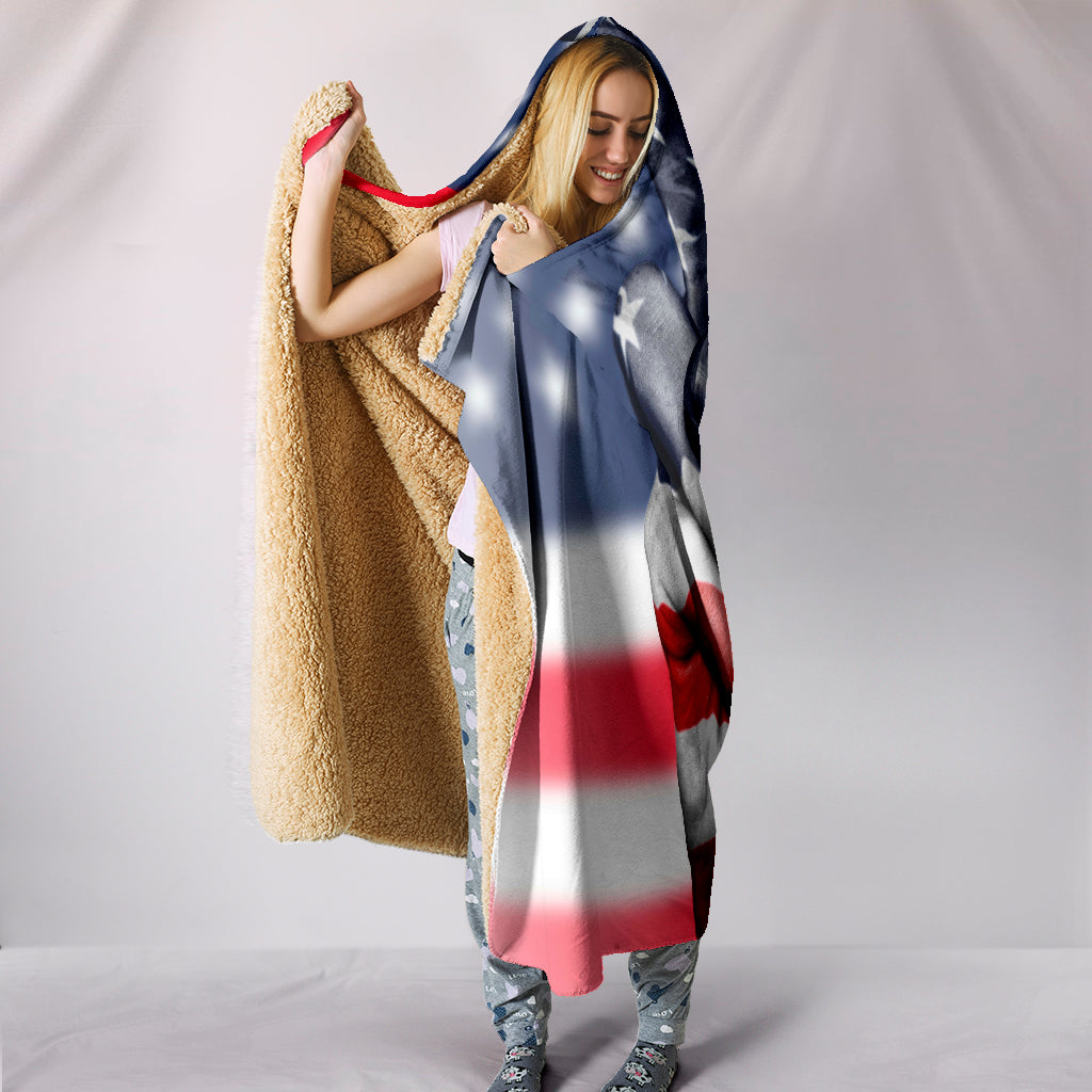 American Peace Themed Hooded Blanket