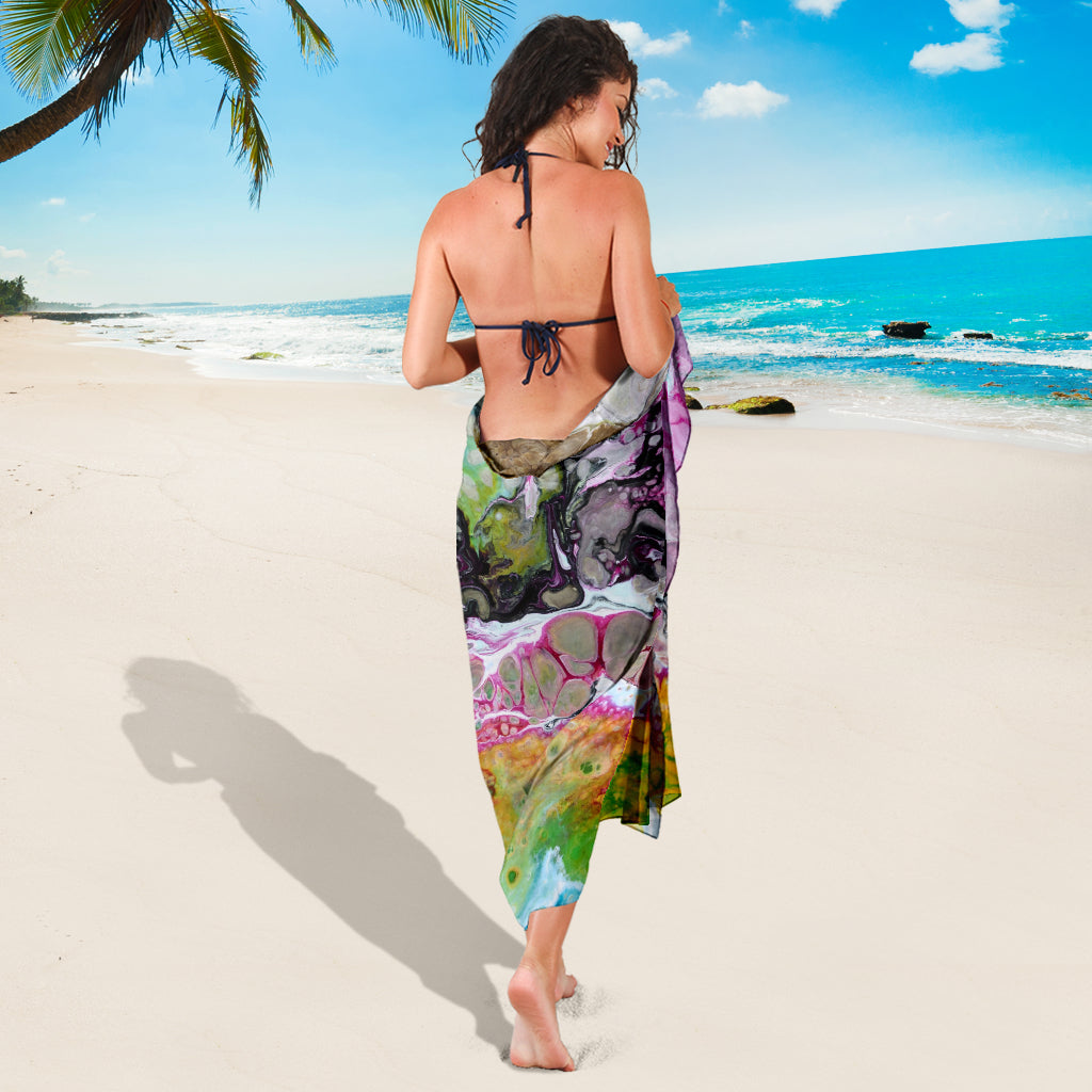 ABSTRACT SARONG BEACH COVER UP SWIMSUITS POOL ONE PIECE  SHAWL SCARF WRAP UP