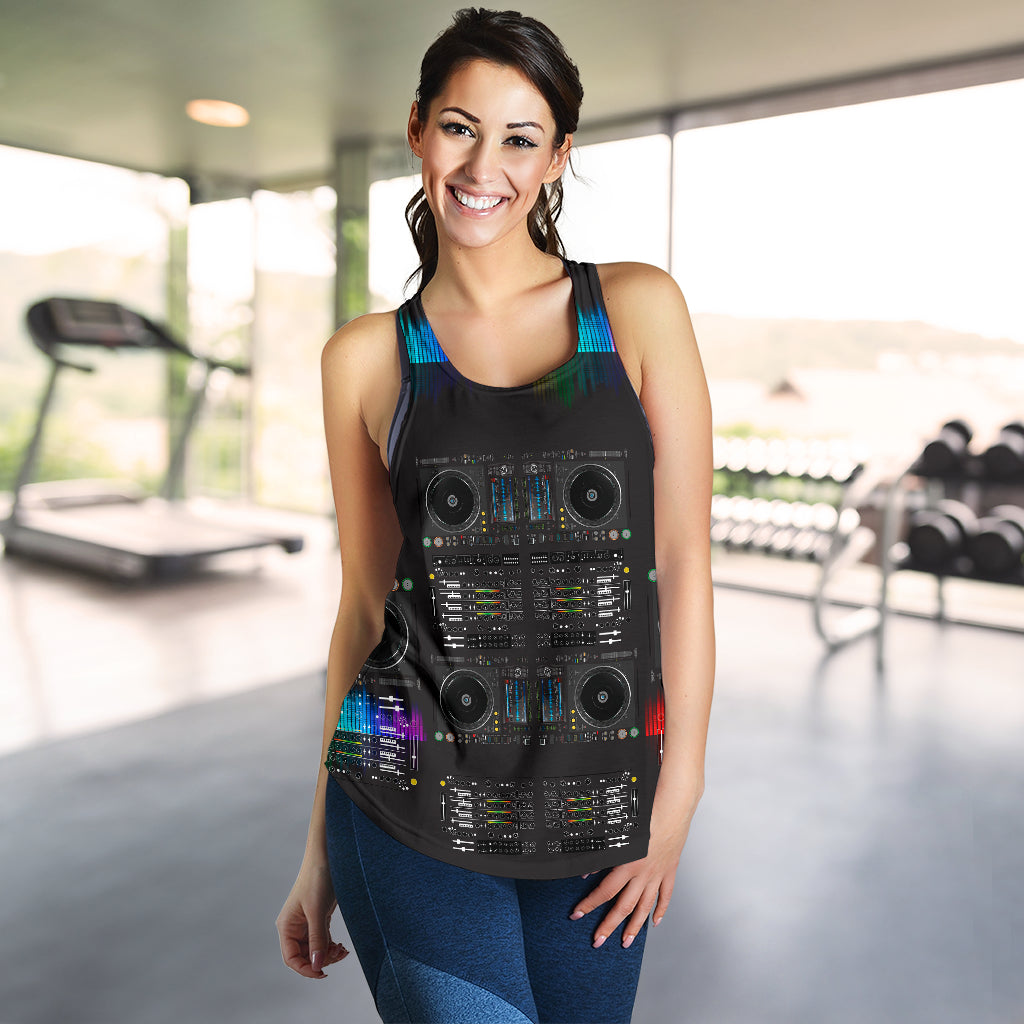 DJ Print Racerback Tank Top for Women