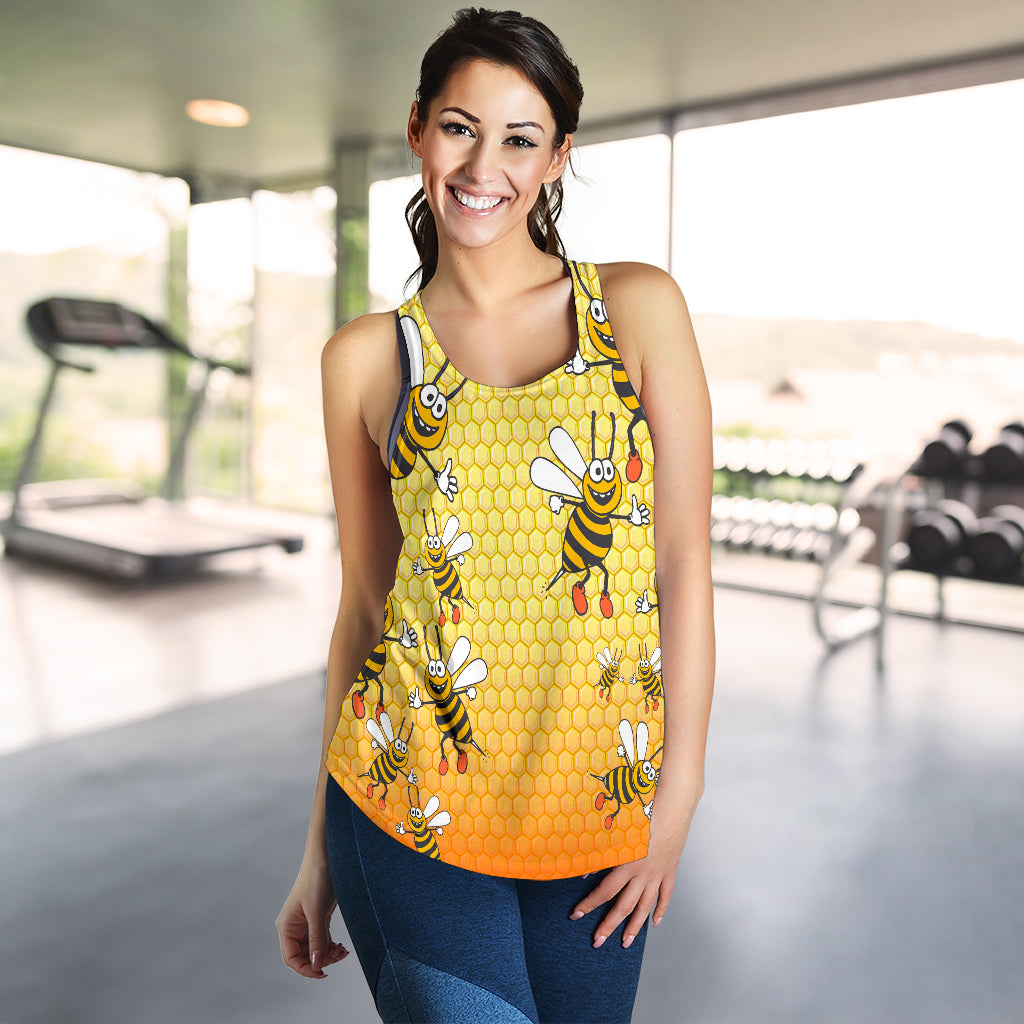 Bee Print Racerback Tank Top for Women