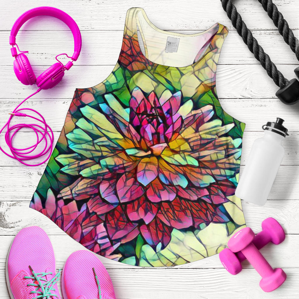 Bright Flower Print Racerback Tank Top for Women