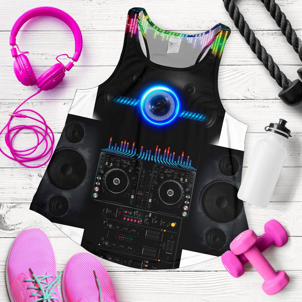 Dj 2 Print Racerback Tank Top for Women