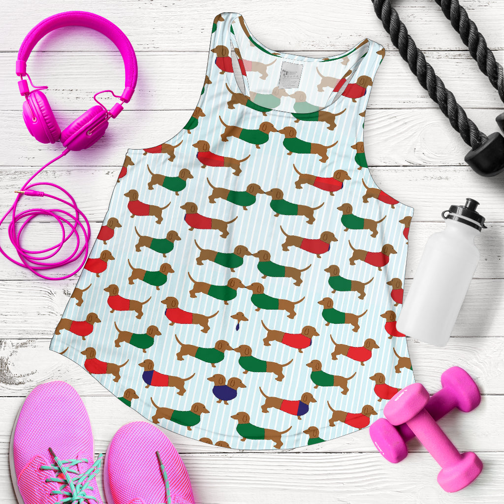 Dachshund 2 Print Racerback Tank Top for Women