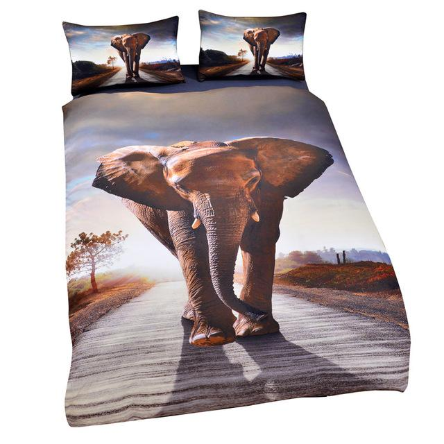 Elephant Love Design Bedding Set Hypoallergenic Duvet Cover Microfiber Twin/Queen/King Size Bed Sheet with 2 Pillow Covers