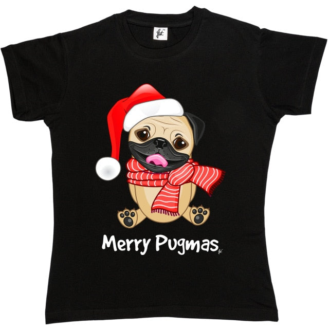 Merry Pugmas Scarf themed T-Shirt for Women