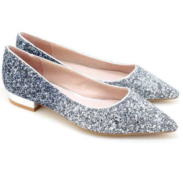 WILD CARD BLUE GLITTER WOMEN'S FLATS
