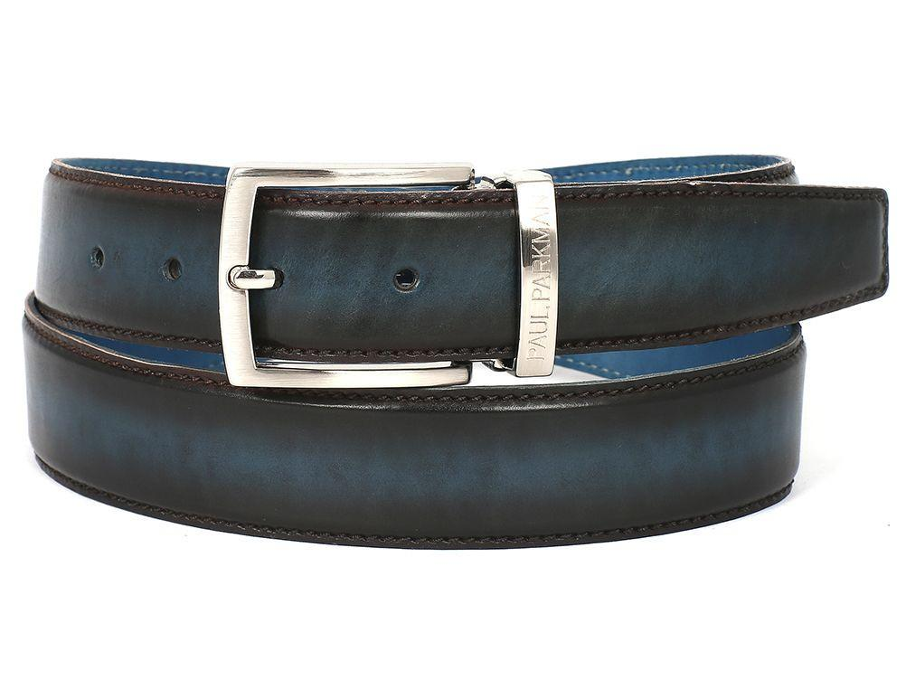 PAUL PARKMAN Men's Leather Belt Dual Tone Brown & Blue