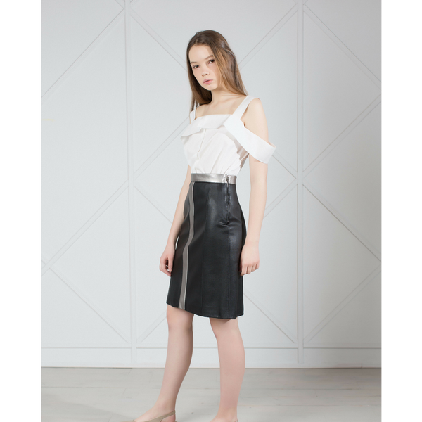 TAKE BACK THE NIGHT BLACK VEGAN LEATHER MIDI SKIRT