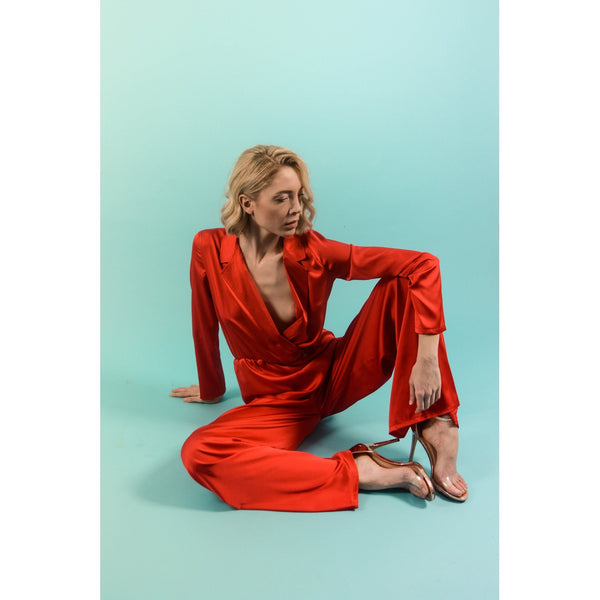 LADY LOVES RED SILK JUMPSUIT - Gimmerton