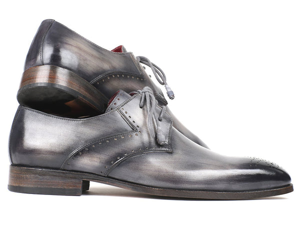 Paul Parkman Men's Gray Medallion Toe Derby Shoes
