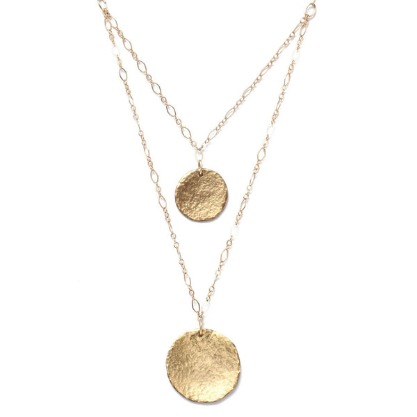 COIN FOR YOUR THOUGHTS DOUBLE STRAND GOLD NECKLACE - Gimmerton