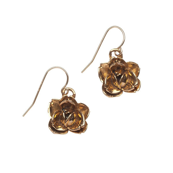 GOLD PLATED ROSE EARRINGS - Gimmerton