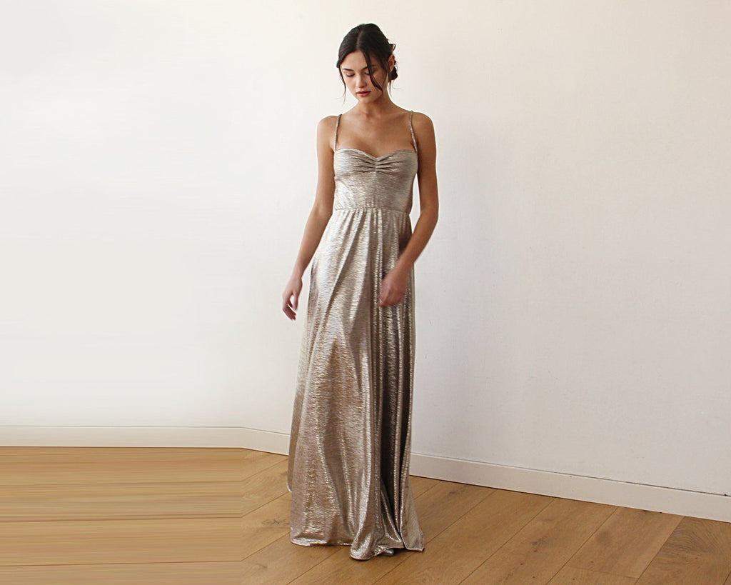 GOLD HEMISPHERE METALLIC MAXI DRESS