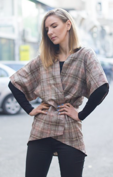 11TH HOUR DESIRES PLAID SHORT SLEEVE TOP