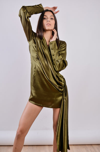 DEVINE POETRY GREEN MINI DRESS