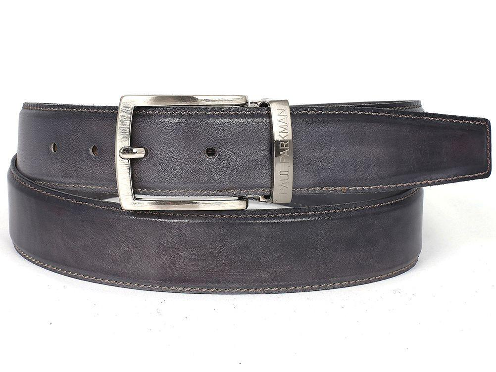 PAUL PARKMAN Men's Leather Belt Hand-Painted Gray