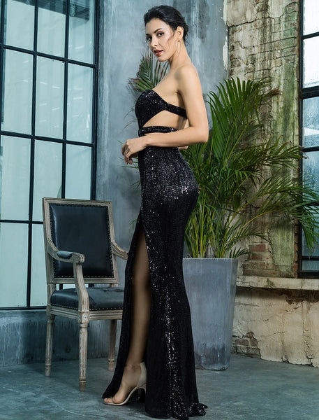 QUEEN OF HEARTS BLACK SEQUIN LONG DRESS