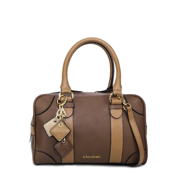 NEUTRAL NANCY BROWN LEATHER HANDBAG