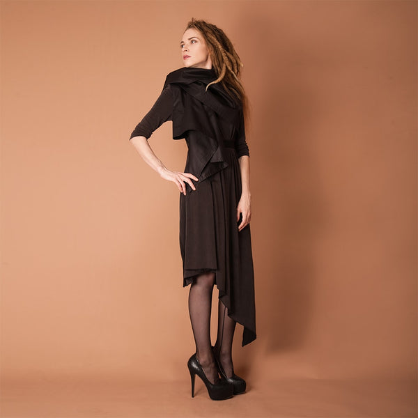 MS. IVY BLACK MIDI DRESS