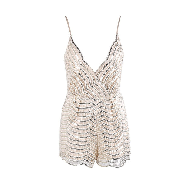 PLAY WITH ME NOT BEIGE SEQUIN ROMPER