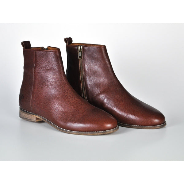 COGNAC MEN'S LEATHER ANKLE BOOTS - Gimmerton