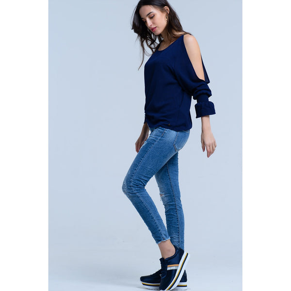 SUGARLOAF MID-RISE JEANS WITH RIPS