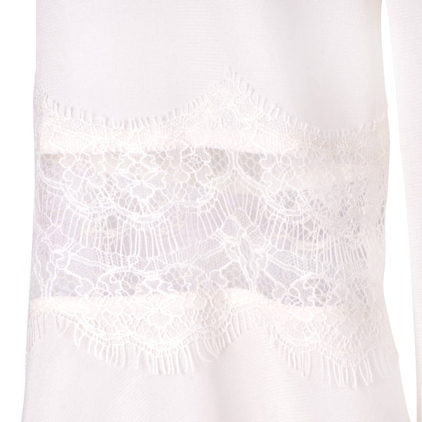 CHANTILLY LACE AND SILK LONG SLEEVE TOP