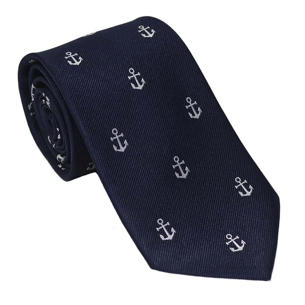 Anchor Necktie - White on Navy, Woven Silk