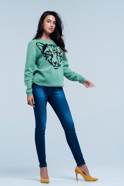 TIGER ME ON GREEN WOMEN'S SWEATER