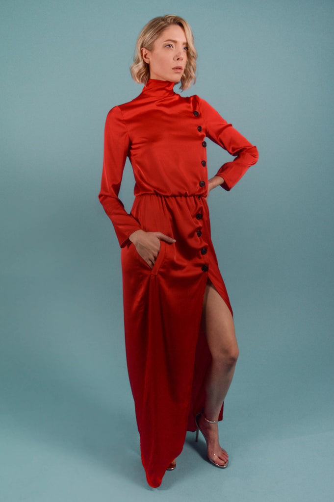 ASIAN PERSUASION RED TURTLENECK MAXI DRESS